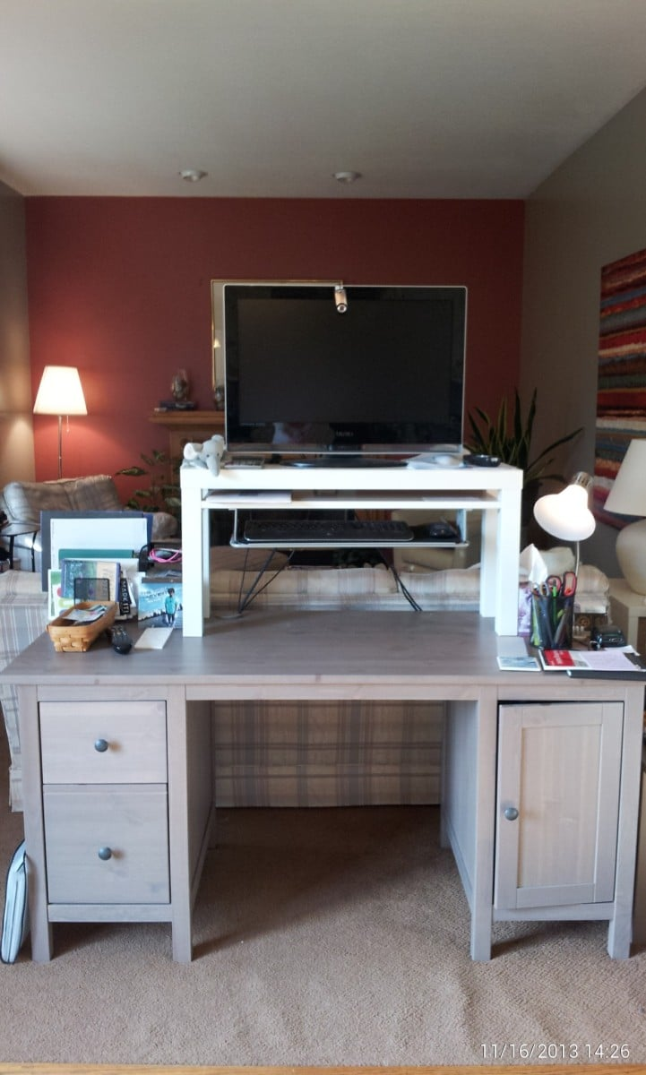 25 standing desk hack from lack tv unit summera ikea hackers ikea hackers. Black Bedroom Furniture Sets. Home Design Ideas