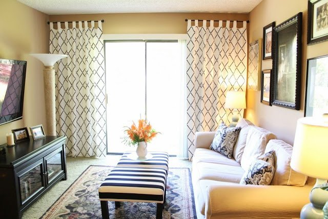 Lovely Stenciled Curtains Ikea Hackers
