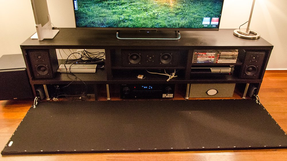 Elevated and concealed Besta media cabinet - IKEA Hackers - IKEA ...