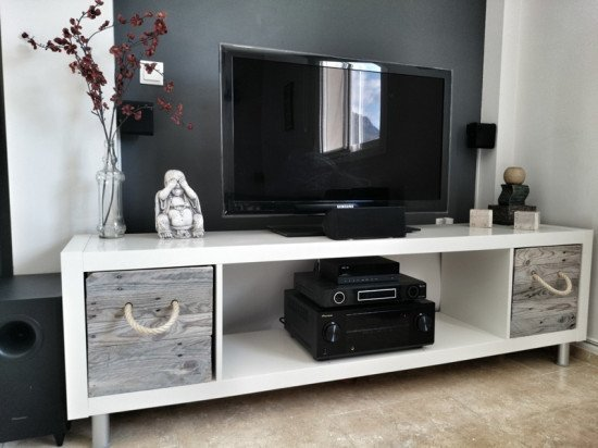 ikea expedit tv stand with pallet boxes ikea hackers