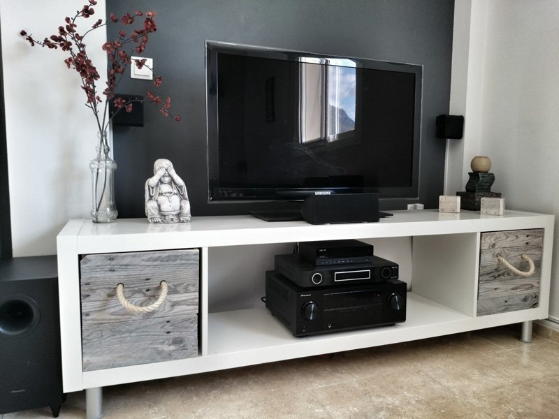 Meuble Tv Lack Ikea : Ikea Expedit Tv Stand With Pallet Boxes – Ikea Hackers – Ikea Hackers