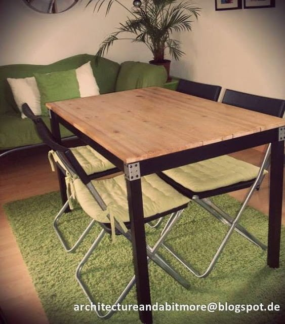 industrial dining table from a simple ikea table ikea hackers. Black Bedroom Furniture Sets. Home Design Ideas