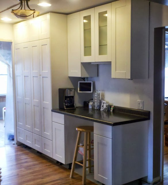 how extend tall cabinet base unit floor ceiling kitchen hackers cabinets to solid pine pantry standard height