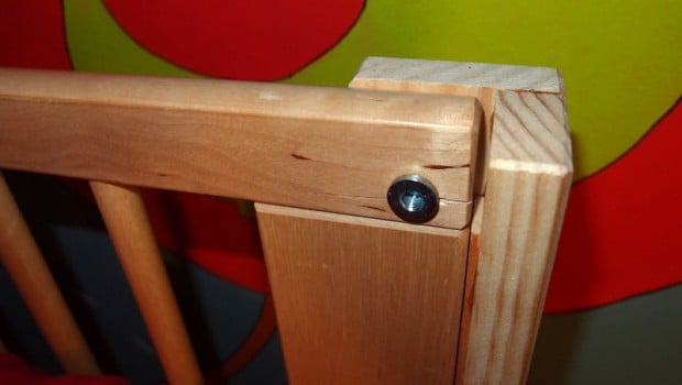 The stiffer birch wood needed a larger hole drilled to prevent this blow-out in the end grain.