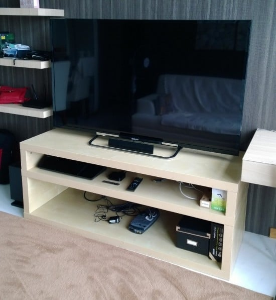 Two Tier TV bench IKEA LACK hack