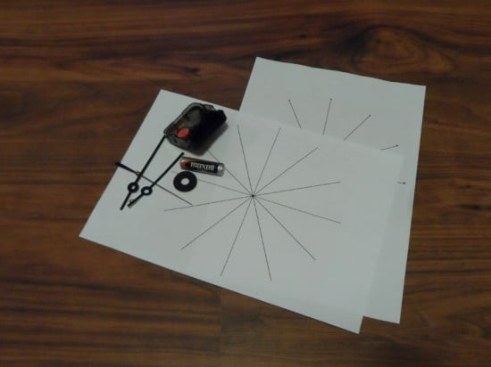 Clockwork and printed clock-face template