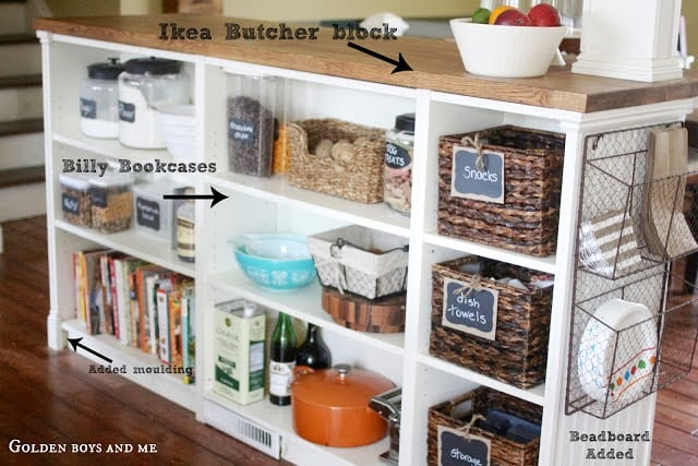 Diy Kitchen Island Made From Billy Bookcases Ikea Hackers