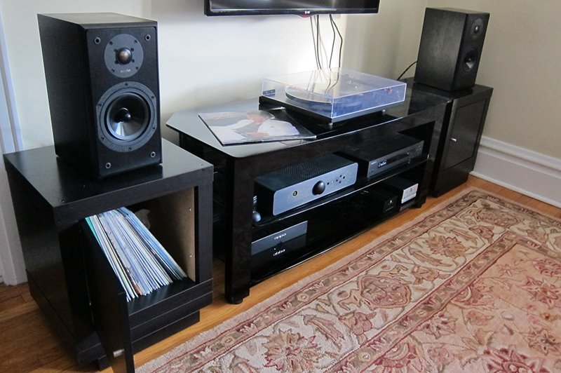 Speaker Stands Record Storage Combo
