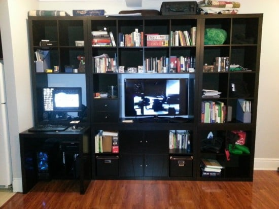 expedit wall unit tv with built in desk ikea hackers