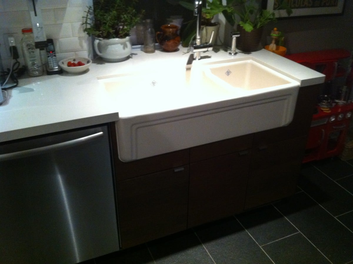 farm sinks for kitchens ikea farmhouse sink into ikea kitchen cupboards ikea hackers 8907