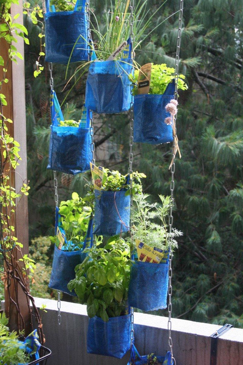 hanging blue bag planter