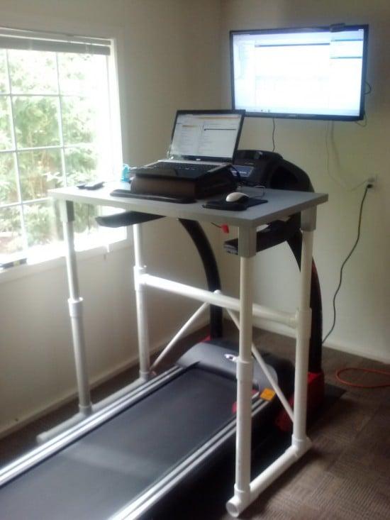LINNMON treadmill desk with PVC pipe legs - IKEA Hackers - IKEA