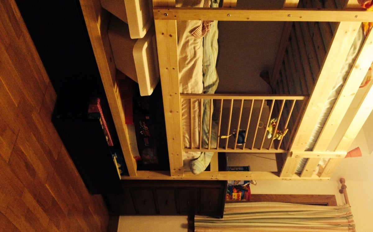 bunk bed hack added height shelf and malm drawers ikea hackers