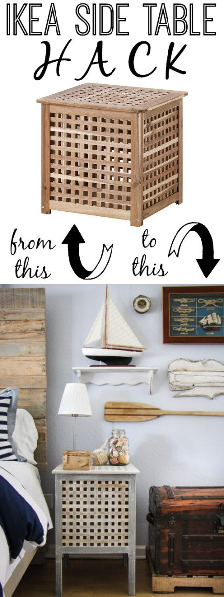 IKEA Side Table Hack by The Thinking Closet via ikeahackers.net