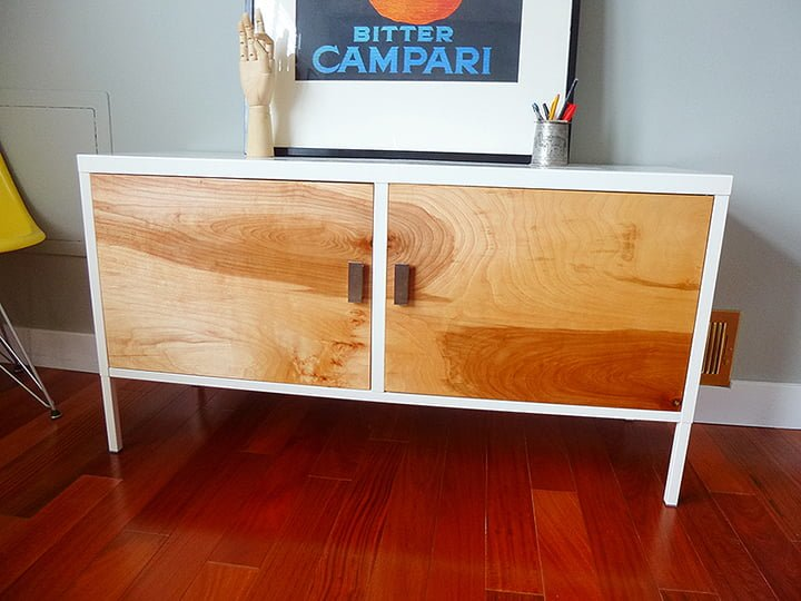 From ikea ps locker cabinet to upscale mid century for Meuble tv metal ikea