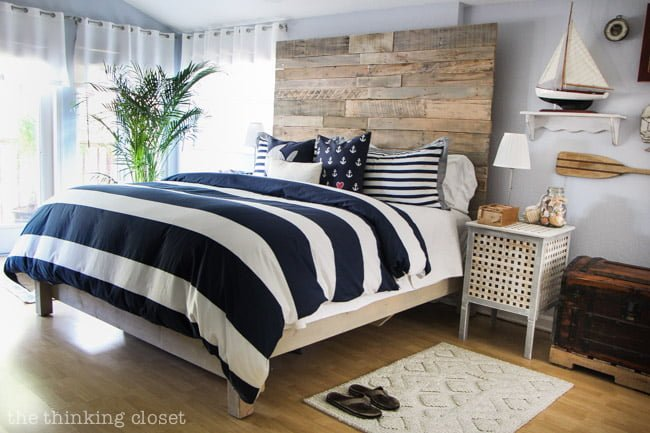 Rustic Nautical Master Bedroom Makeover by The Thinking Closet; featuring IKEA hacked side tables!