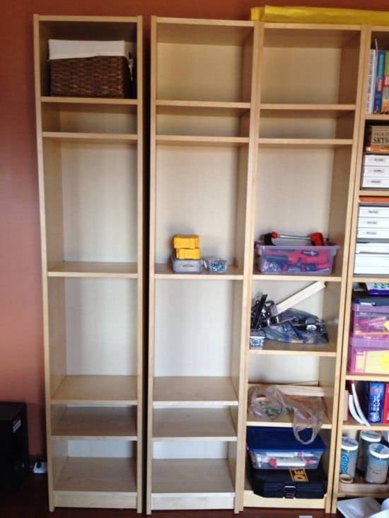 We started with 3 narrow birch Billy bookcases