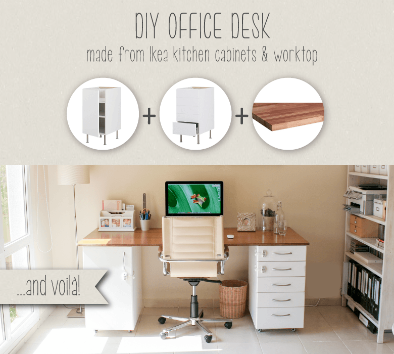 DIY office desk made from IKEA kitchen components  IKEA Hackers
