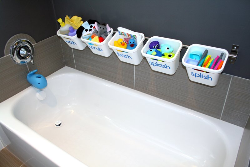 Bath Toy Storage That Transforms To Guest Luxury Bathroom