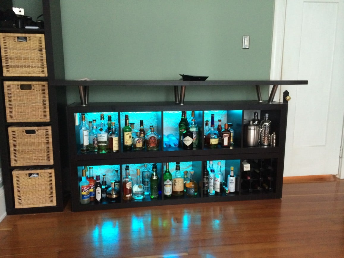 Expedit home bar add light and texture ikea hackers Home decor hacks pinterest
