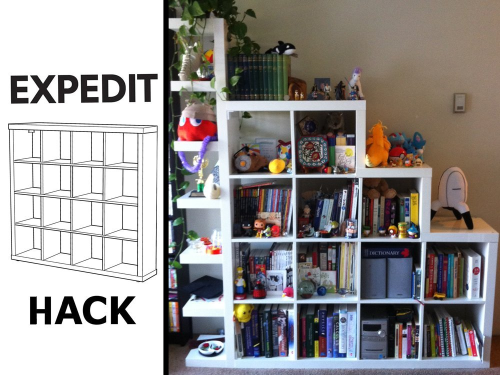 the de squaring and shelf itizing of an expedit unit ikea hackers ikea hackers. Black Bedroom Furniture Sets. Home Design Ideas