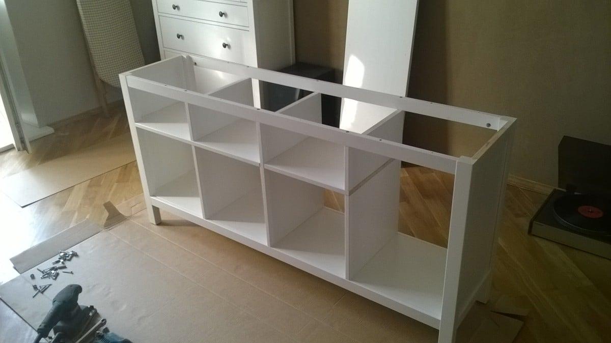 combining 2 hemnes console tables into 1 ikea hackers ikea hackers. Black Bedroom Furniture Sets. Home Design Ideas