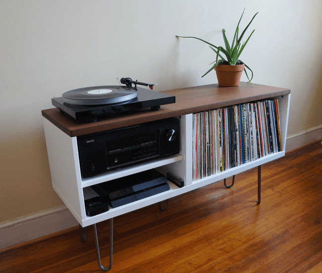 Mid century modern record console ikea hackers for Meuble audio ikea