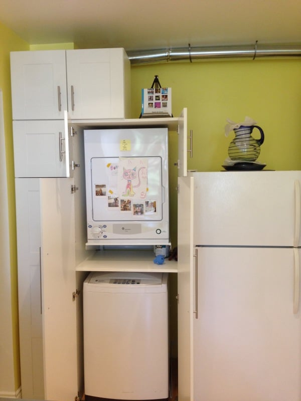 Charmant Final Result: Hiding Stackable Top Load Washer/dryer In AKURUM High Cabinet