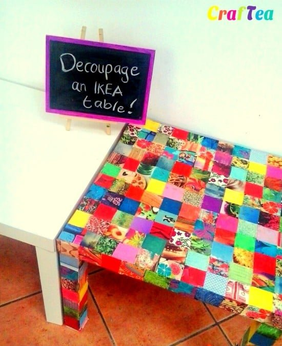 before and after DIY Decoupage IKEA HACK on Lack Side Table