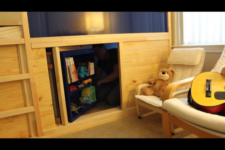 Escape The Bathroom Hacked kura transformed into bed / play structure combo - ikea hackers