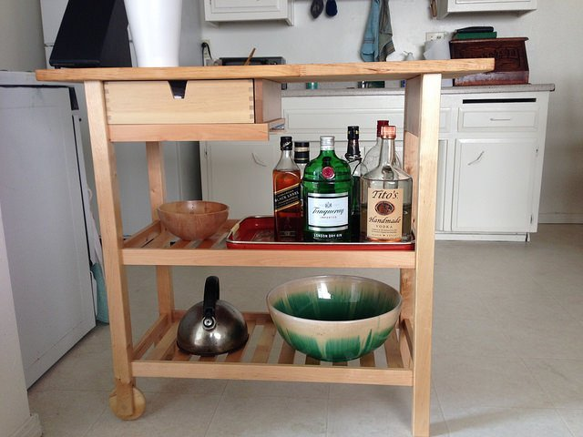 kitchen cart modified for tall bottles ikea hackers ikea hackers