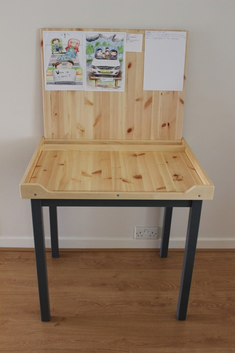 An Artist Desk With Paper Storage Ikea Hackers