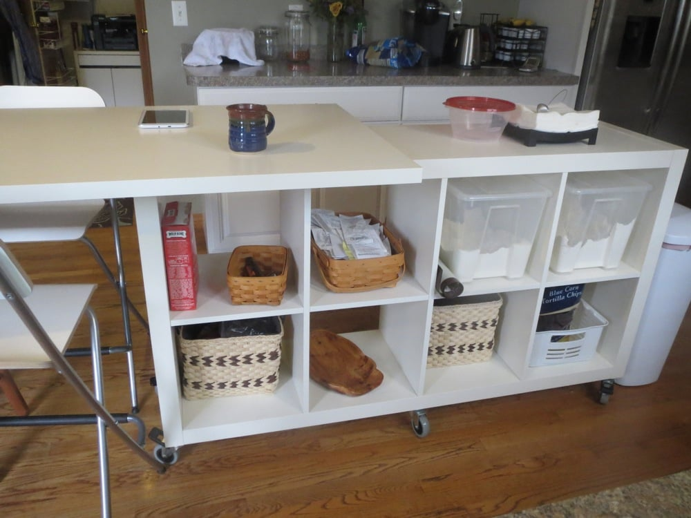 Extendable Kitchen Island Using Expedit And Linmon Ikea Hackers Ikea Hackers