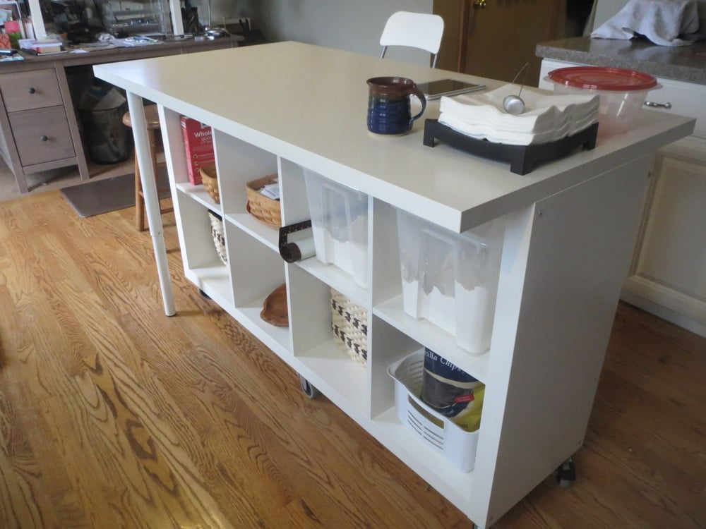 Extendable kitchen island using expedit and linmon ikea hackers ikea hackers - Table pour cuisine ikea ...