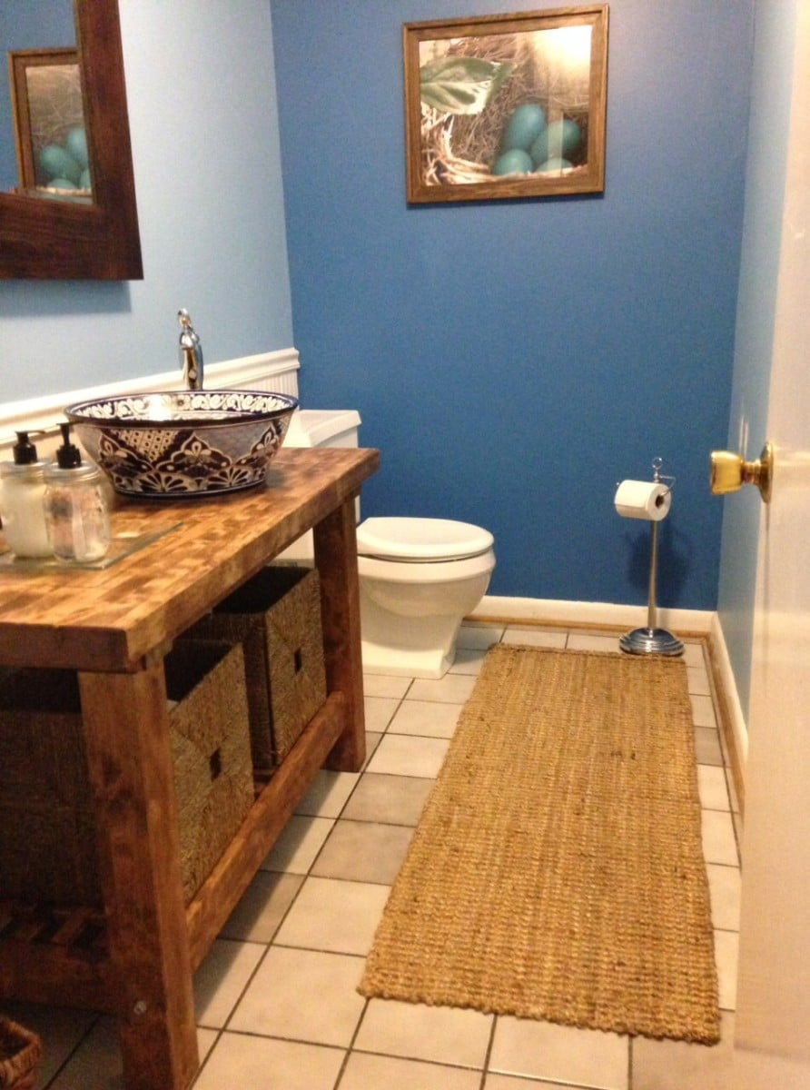 Kitchen cart turned bathroom vanity - IKEA Hackers