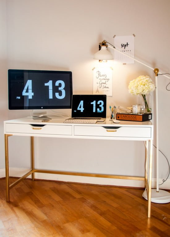Standard White Ikea Desk Was Transformed Using Gold Spray Paint On