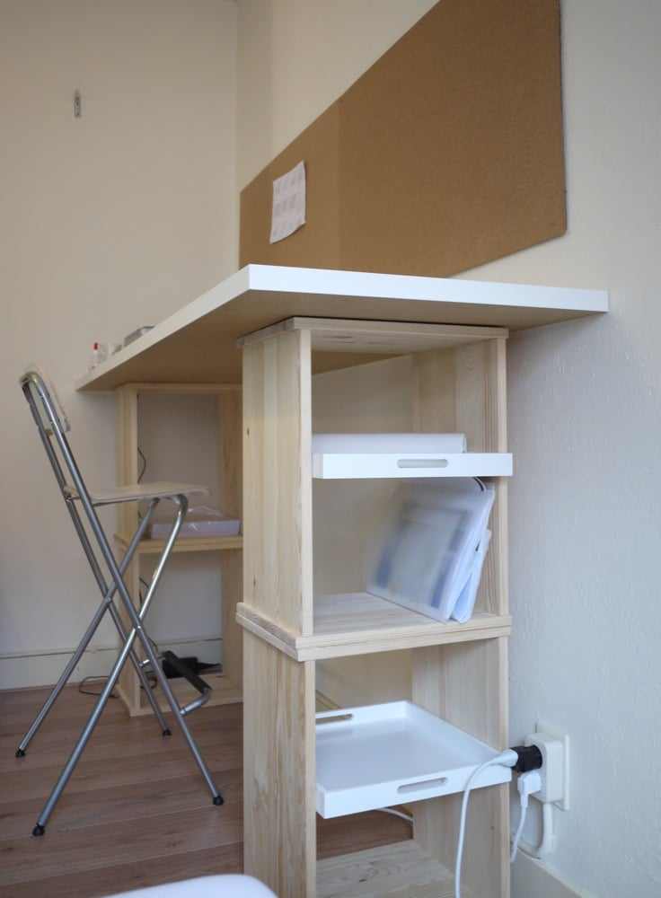 Rast Bedside Tables Into Standing Desk With Storage Trays