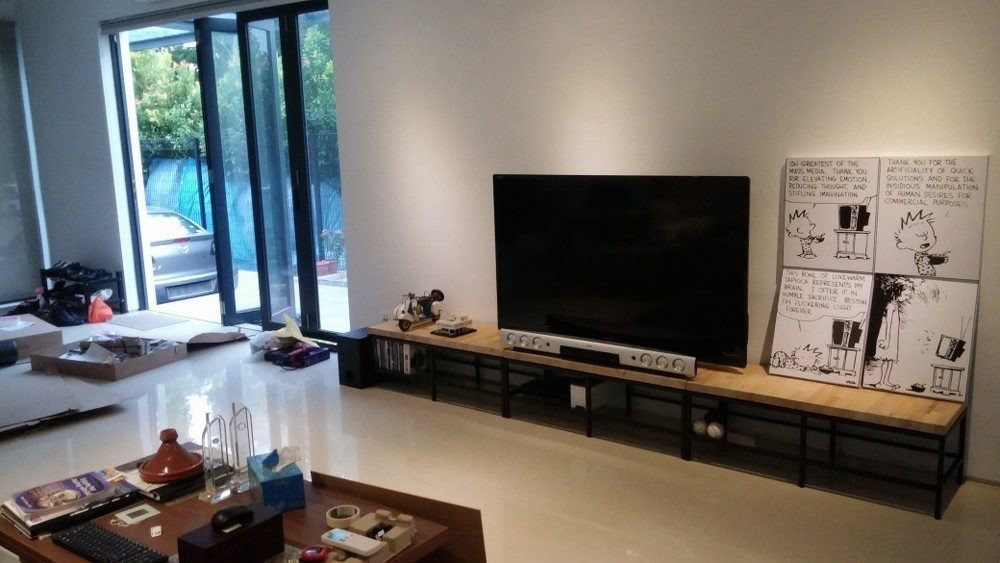 Contemporary Wooden Top TV Bench