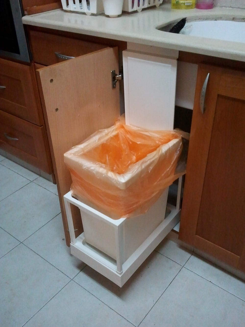 Automatic kitchen trash can - Ikea pull out trash bin ...