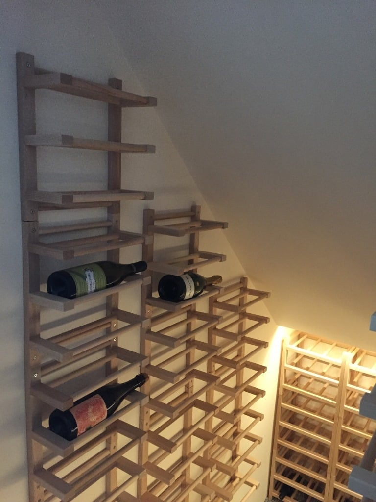 Hutten wall mounted side on wine racking ikea hackers for Wine shelves ikea