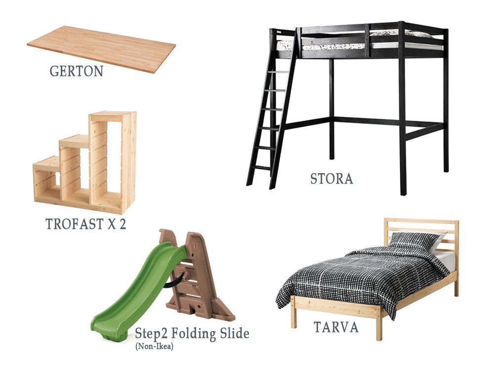 Wowee Full Over Twin Bed With Stairs Slide And Secret Room Ikea Hackers