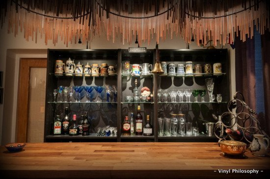 DIY Home Bar built from BILLY bookcases