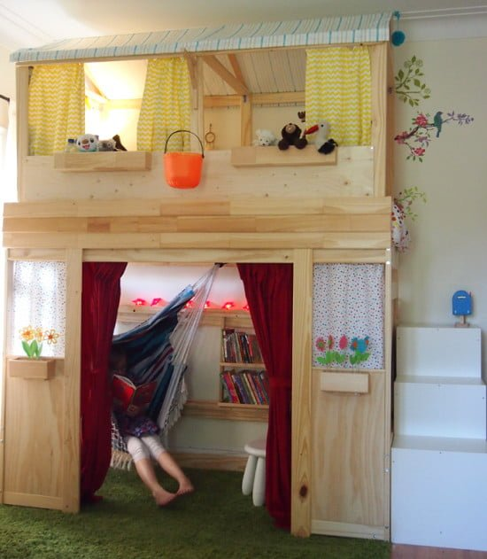 A reading nook playhouse