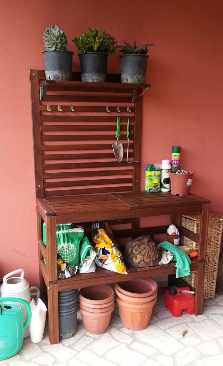 Potting bench, perfectly made with 8 ÄPPLARÖ benches - IKEA Hackers