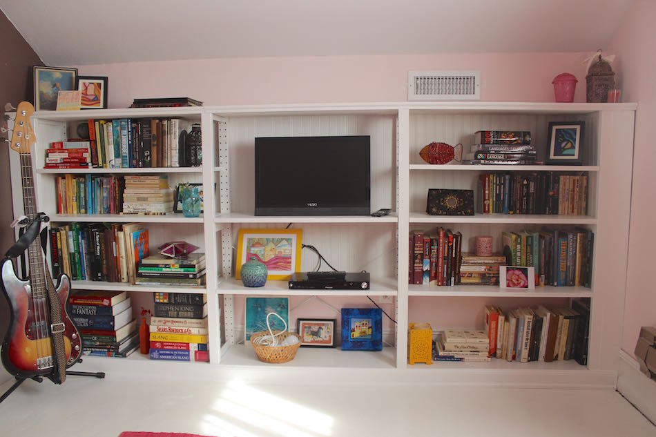 Quot built in quot bookcase from old ivar shelf ikea hackers