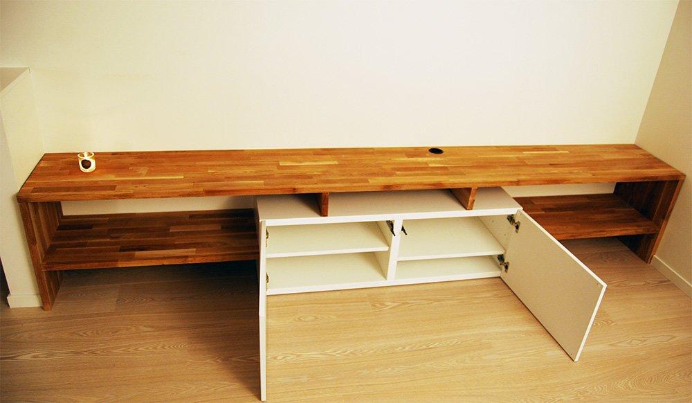 made to measure best and oak tv bench ikea hackers ikea hackers