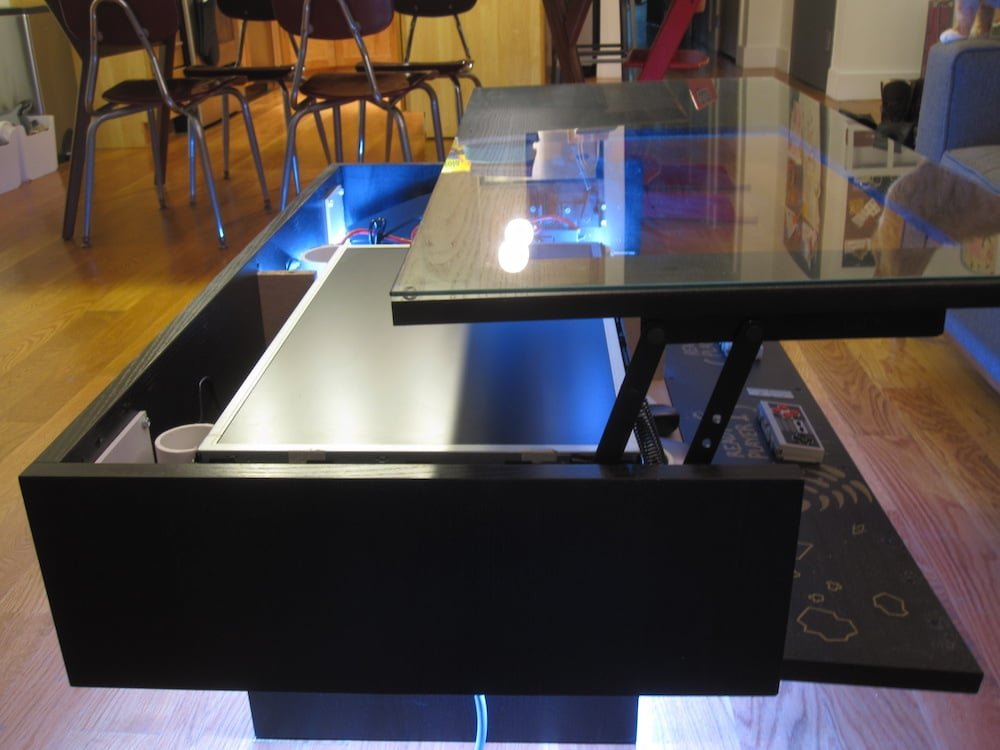 my ramvik arcade table with lift and lock table top ikea hackers ikea hackers. Black Bedroom Furniture Sets. Home Design Ideas