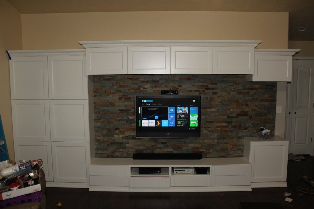 BESTA built in with stone wall for TV IKEA Hackers