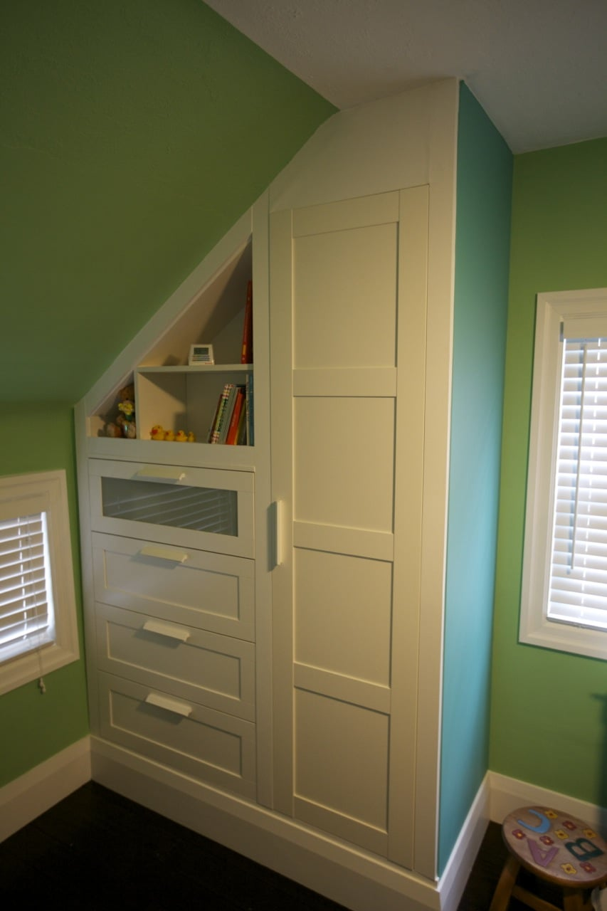 Used a pax wardrobe brimnes dresser and an old billy book case to built a custom built in wardrobe dresser for a nursery this plus a custom floating desk
