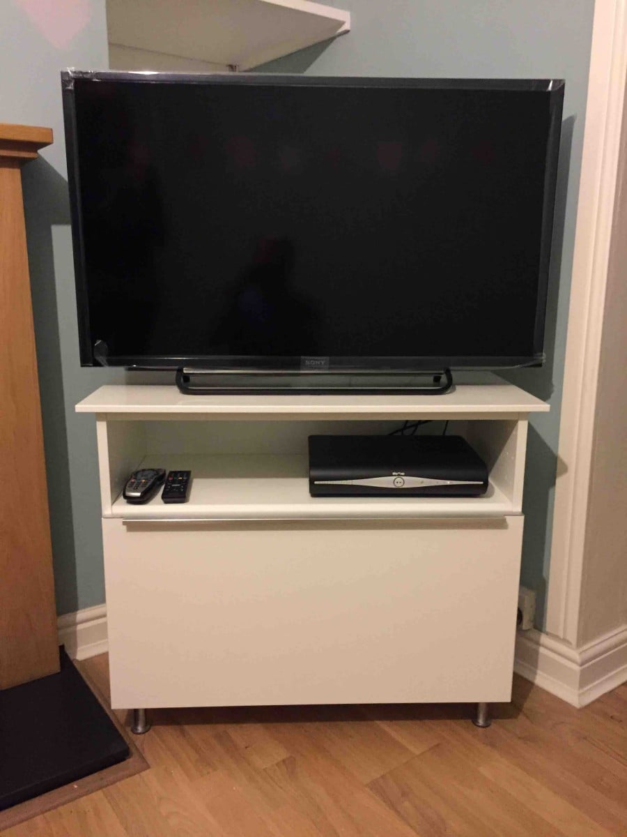 tv stand from metod cabinet ikea hackers ikea hackers. Black Bedroom Furniture Sets. Home Design Ideas